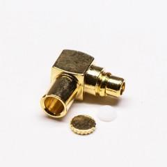 MMCX90度公座弯式接同轴线镀金压接式