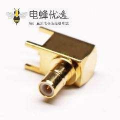 弯头SMB连接器母头镀金插板接PCB板