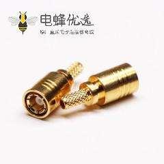 SMB公头射频连接器压接式接同轴线缆