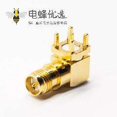 RP-SMA接头弯式母头公针连接器镀金插板
