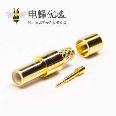 smb母头公针直式射频连接器镀金压接式接线
