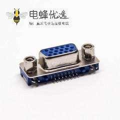 d-sub 15芯母头弯式穿孔接PCB板蓝色胶芯带铆锁