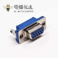 15针d-sub接口母头180度连接器蓝色胶芯插PCB板