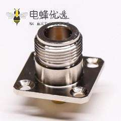 N型连接器焊接接同轴线缆直式母头四孔法兰