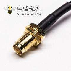 射频线接SMA直式母头转MMCX弯公头组装线材压接