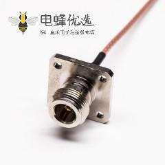 N型母头连接器直式4孔法兰转弯式MMCX公头同轴线缆
