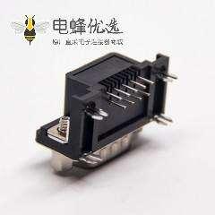 d-sub 9针公头弯式连接器黑色胶芯带铆锁插PCB板