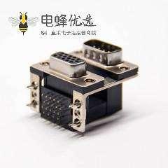 双层d sub连接器母头15针公头9针弯式插板接PCB板