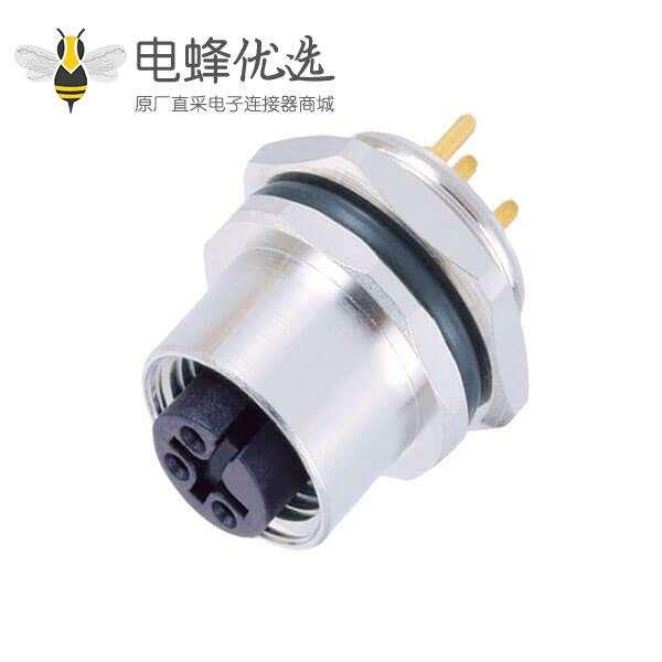 M12 防水接头连接器4芯A型板端母座PCB焊接型后锁工业传感连接器