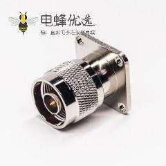 N型法兰接头直式180度公头4孔法兰焊接式接同轴线缆