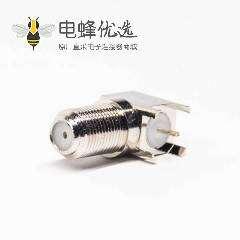 射频同轴F连接器母头90度穿孔式接PCB板