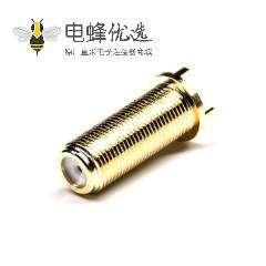 F头直式射频同轴连接器母头镀金插PCB板