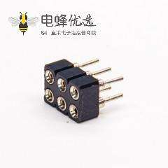 圆孔排母座子双排6pin母头直式穿孔式连接器