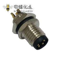 M8 M12连接器防水圆形航空接头A型4芯焊线母插座