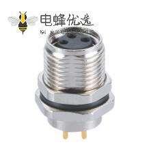3芯前锁M8防水PCB插座A型母座板端插板航空插座