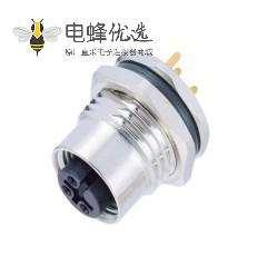 M12防水4芯接头A型板端PCB焊线型前锁工业航空连接器