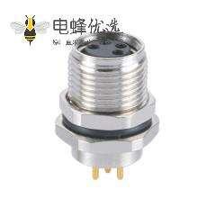 M8防水插座A型母座4芯板端插板航空插座