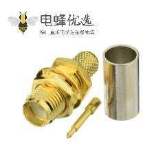 SMA射频同轴连接器母头压接带螺母垫片接RG8线