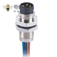 M8焊线式航空插座A型防水板端8芯公插座航空连接器