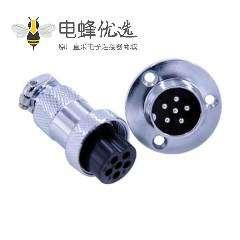 法兰圆形连接器GX20 6芯直式法兰安装圆形连接器
