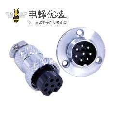 法兰式连接器GX20 8芯三孔法兰大圆盘公母连接器