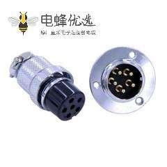 GX25三眼圆形法兰防水连接器直式5芯航空插头插座