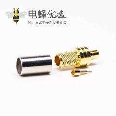 SMB直式180度公头连接器镀金压接式接同轴线缆