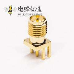 sma系列射频连接器反极式母头公针180度边缘卡板接PCB板