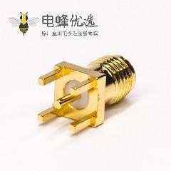 同轴sma接头直式母头镀金穿孔接PCB板