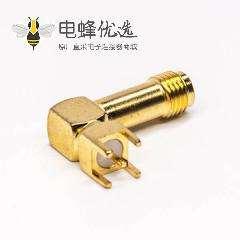 射频同轴sma母接头弯式镀金穿孔接PCB板