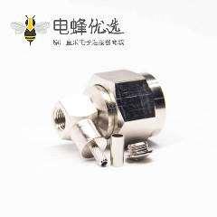 六角N头弯式90度公头连接器压接式接同轴线缆