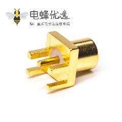 mcx直孔座母头镀金直式卡板接PCB板