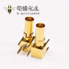 DIN 1.0/2.3公头弯式镀金穿孔式接PCB板