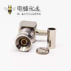 din型连接器1.0/2.3 弯式90度公头压接式接同轴线缆