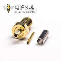 180度SMA接头直式母头公针反极压接式