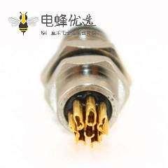 M8 航空插座A 型板端前锁焊线式连接器8芯母插座