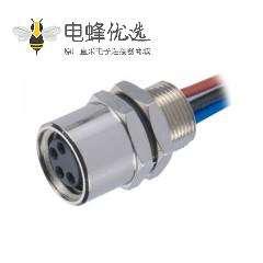 M8焊线防水插座A型4芯带屏蔽线母插座连接器