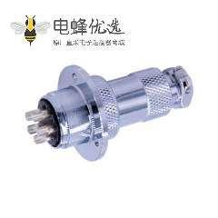 5芯法兰盘航空插头GX20直式圆形插头插座