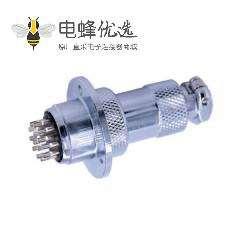 法兰连接器14芯GX20公母直式航空插头插座