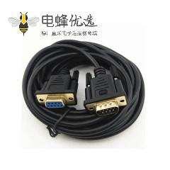 镀金DB9公转DB9母串口线 DB9针对孔 RS232串口线3米