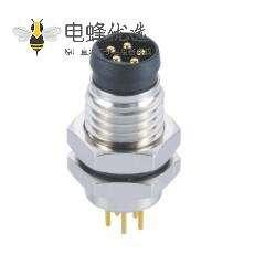 防水连接器M8 5芯电子连接器B型板端前锁PCB公插座航空连接器
