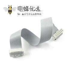 2.54mm间距排线2x7针 14针14线IDC扁平带状电缆长度60CM连接器