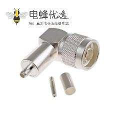 N型连接器插头50Ω直角电缆安装压接端子11GHz