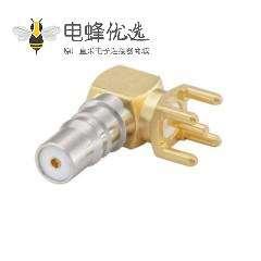 QMA连接器插孔焊接直角50ΩPCB安装引脚端接于RG174 A / U