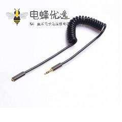 3.5mm弹簧伸缩线公对母耳机延长线 3.5mm 1M