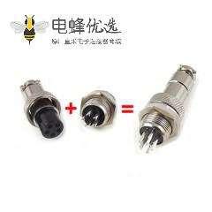 航空插头插座GX12-5芯直式公母防水电子连接器5套