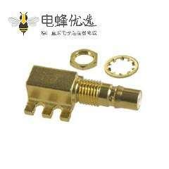 QMA直角PCB安装连接器插孔焊接端接