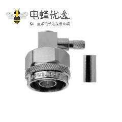 N型连接器50Ω直角电缆安装插头焊接端子11GHz接线RG214/U