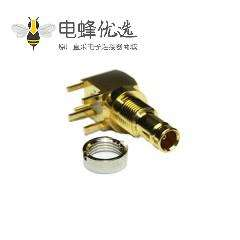 1.0 / 2.3连接器直角75Ω插座焊接端接用于PCB安装的微型微型隔板配件