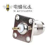 TNC连接器4孔法兰母头直型50Ω面板安装隔板配件焊接端子